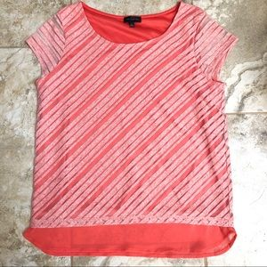 🆕 The Limited Coral Diagonal Stripe Top